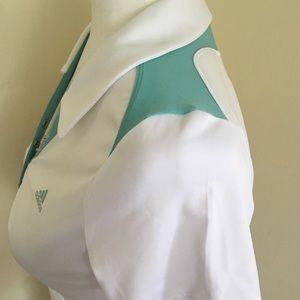 adidas Tops - ADIDAS Sports White & Aqua Polo - Sz S